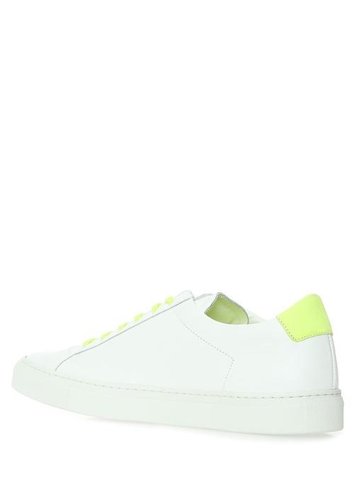 Beyaz Neon Sarı Bağcıklı Erkek Deri Sneaker