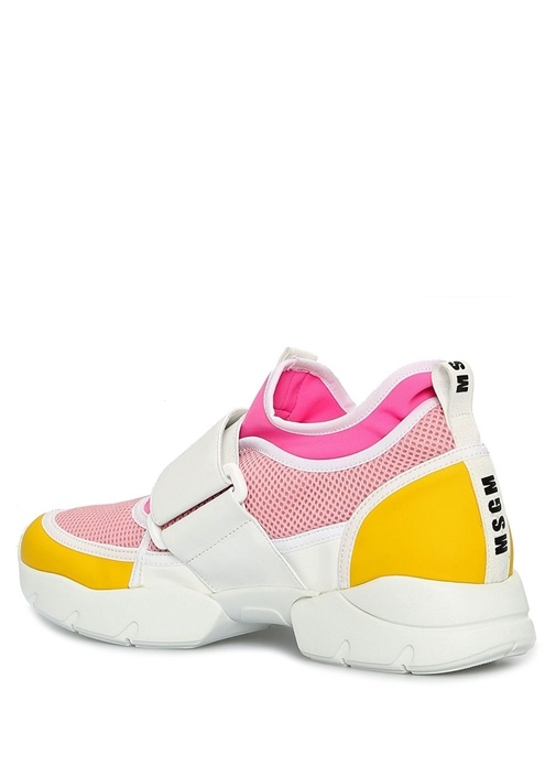 Velcro Pembe Deri Garnili Kadın Sneaker