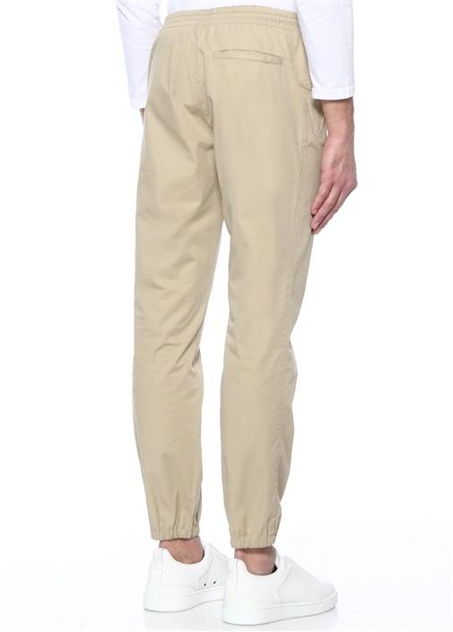 Bej Normal Bel Paça Detaylı Pantolon