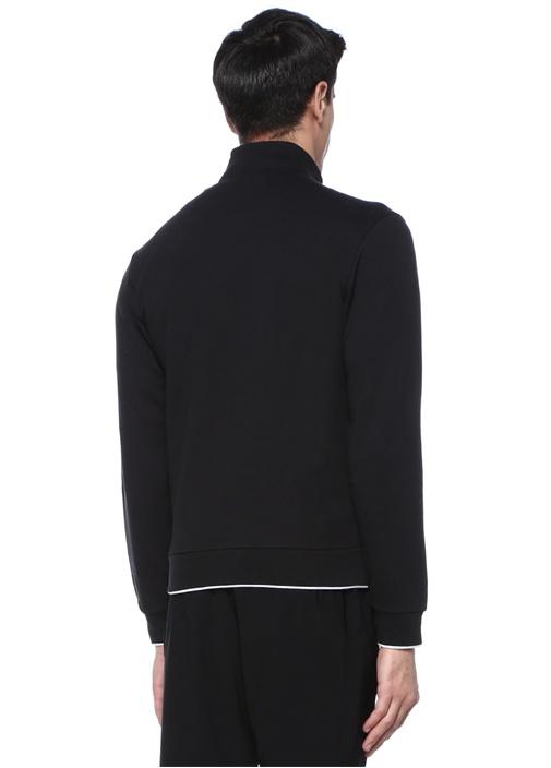 Siyah Logolu Dik Yaka Sweatshirt