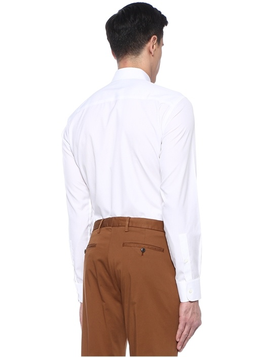 Slim Fit Wash And Go Beyaz İngiliz YakaGömlek
