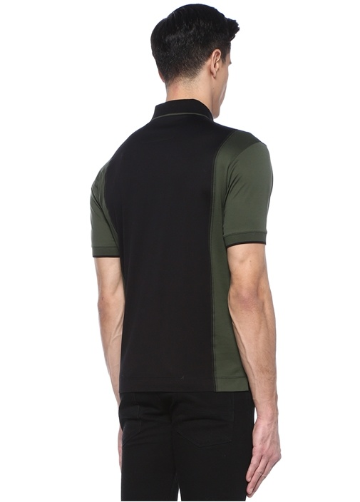 Siyah Yeşil Logolu Polo Yaka T-shirt