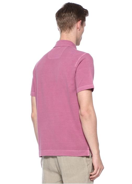 Pembe Polo Yaka Dokulu T-shirt