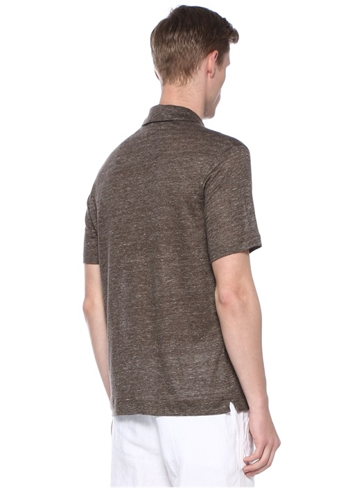 Kahverengi Polo Yaka Keten T-shirt