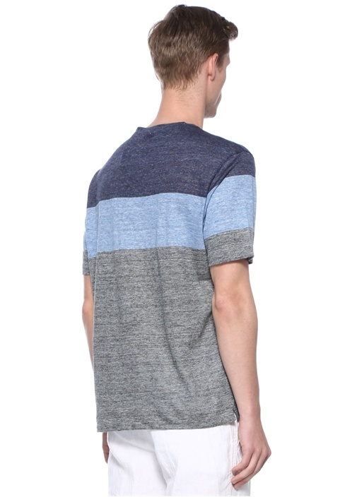 Mavi Bisiklet Yaka Colorblocked Keten T-shirt