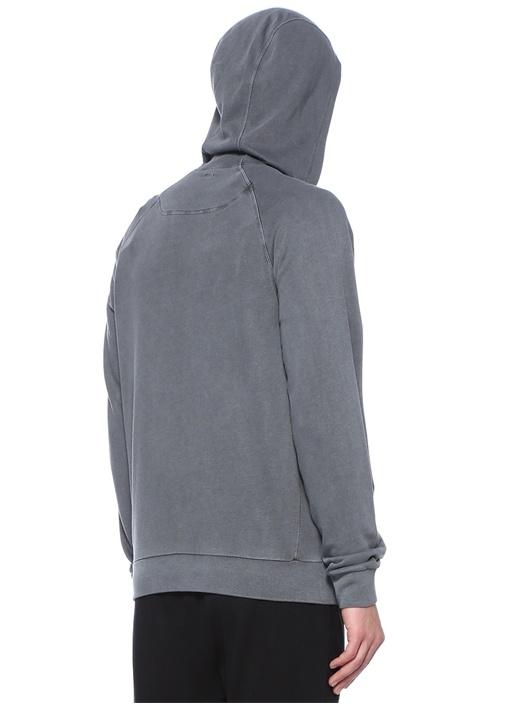 Gri Kapüşonlu Reglan Kollu Sweatshirt