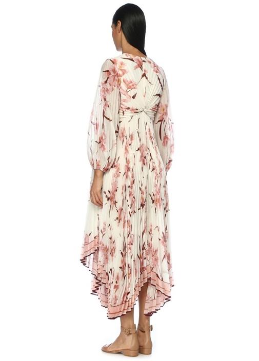 Corsage Beyaz Çiçekli Pileli Asimetrik Maxi Elbise