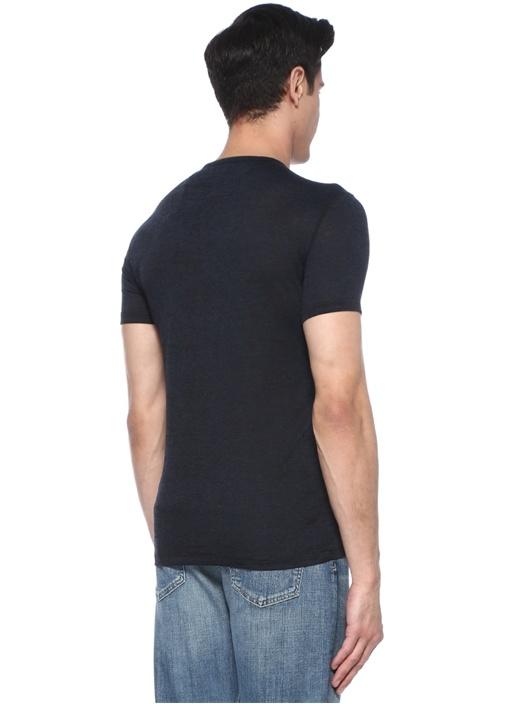 Lacivert Melanj Bisiklet Yaka Basic T-shirt