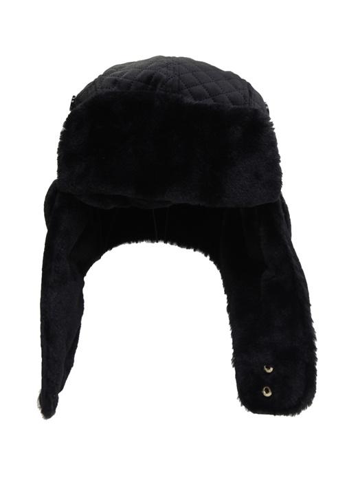 Siyah Shearling Detaylı Kadın Şapka