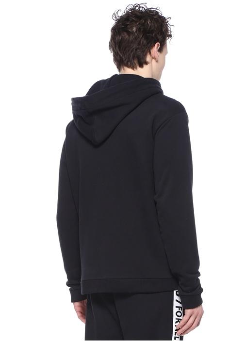 Siyah Kapüşonlu Şerit Logo Jakarlı Sweatshirt