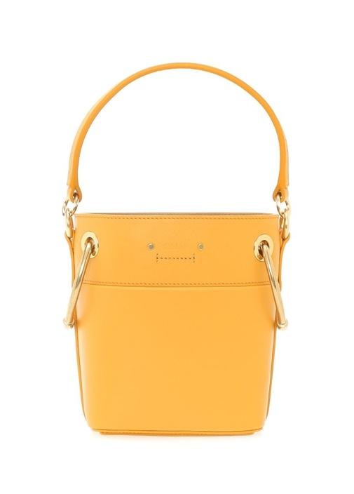 Mini Roy Sarı Logolu Kadın Deri Çanta