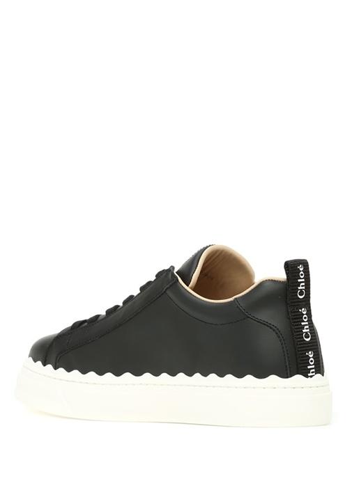 Lauren Siyah Logolu Kadın Deri Sneaker
