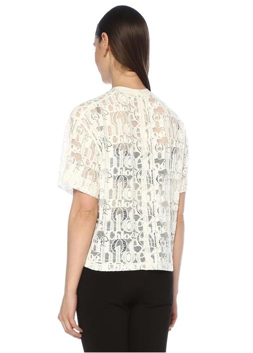 Beyaz Kısa Kollu Transparan Dantel Bluz