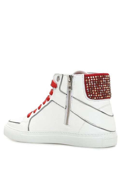 Flash Leo Beyaz Kadın Deri Bilek Boy Sneaker