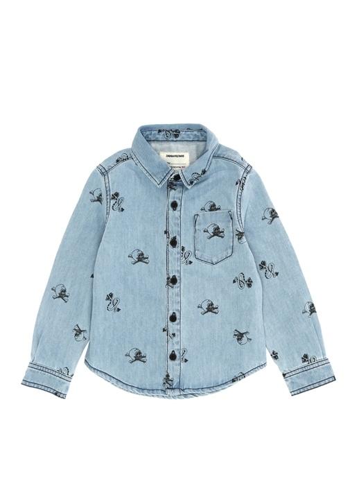 Mavi Kuru Kafa Baskılı Erkek Çocuk Gömlek
