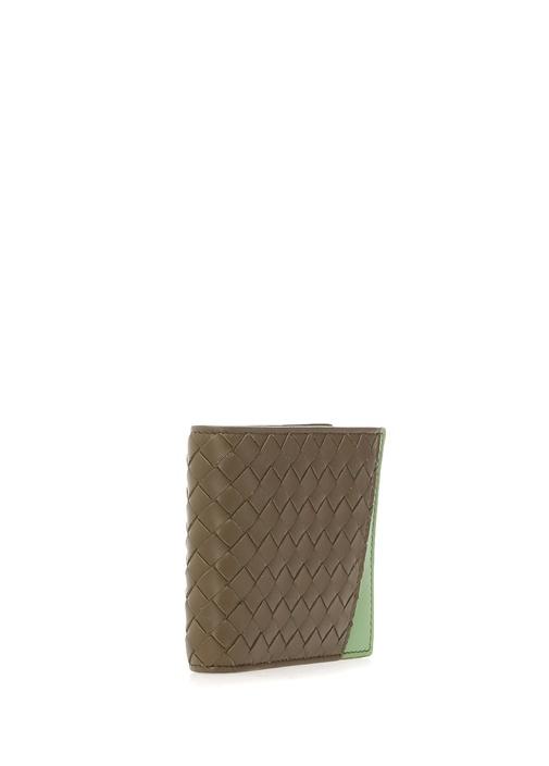 Yeşil Kahverengi Örgü Dokulu Erkek DeriCüzdan