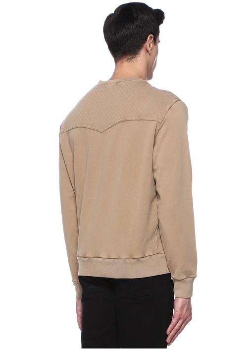 Bej Dikiş Detaylı Sweatshirt