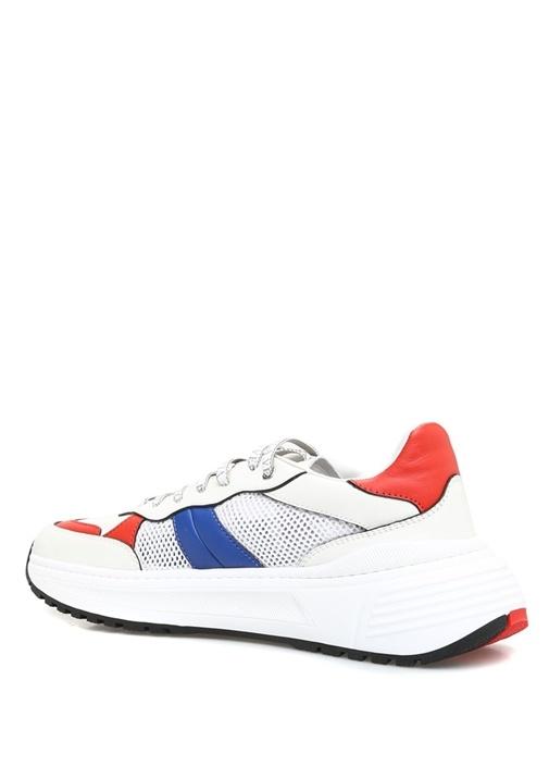 Beyaz File Dokulu Erkek Deri Sneaker