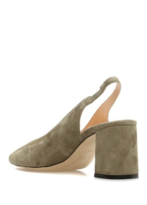 Haki Topuklu Kadın Süet Sandalet