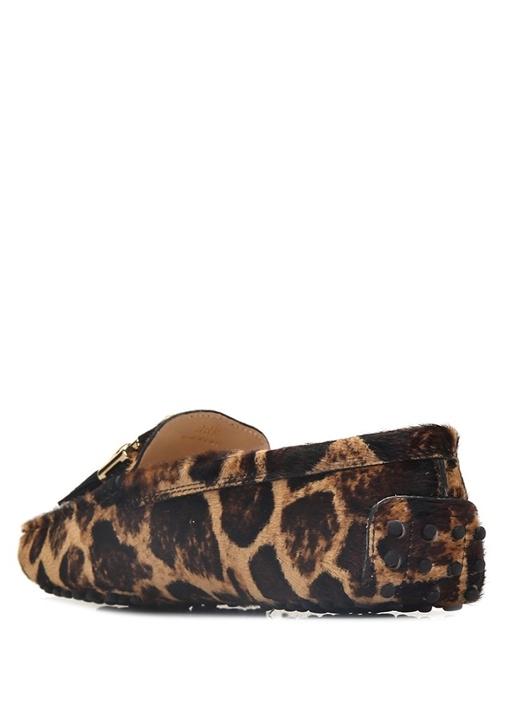 Leopar Desenli Kadın Deri Loafer