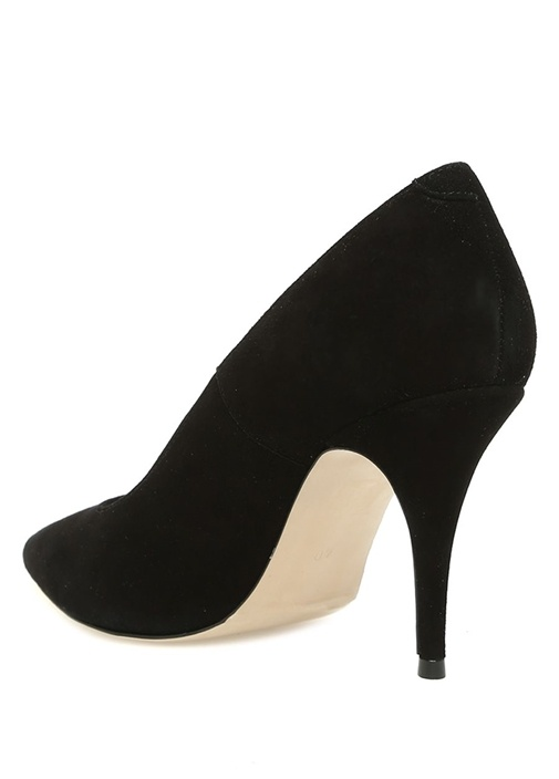 Siyah Klasik Süet Topuklu Ayakkabı