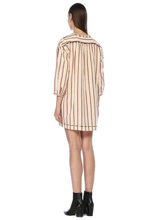 Rosa Ekru Çizgili Nakışlı Truvakar Kol Mini Elbise