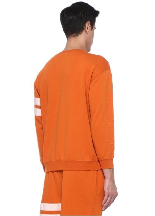 Turuncu Bisiklet Yaka Logolu Şeritli Sweatshirt