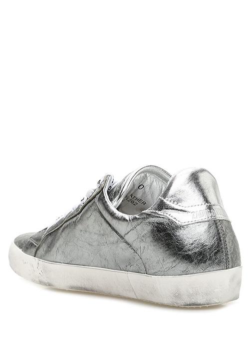 Gri Bağcık Detaylı Kadın Deri Sneaker