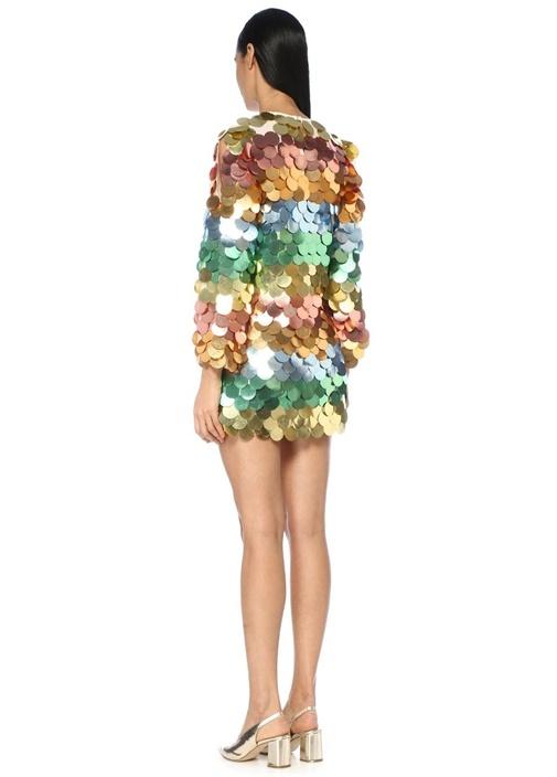 Gökkuşağı Payet İşlemeli Uzun Kol Mini Elbise