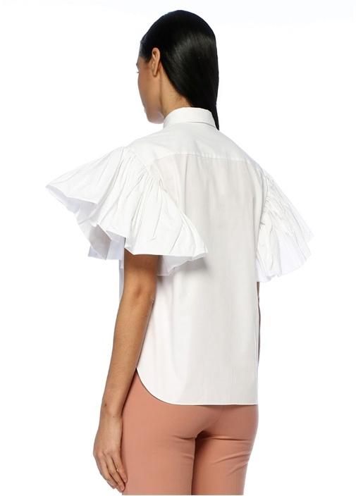 Beyaz Klasik Yaka Kolu Volan Detaylı Gömlek