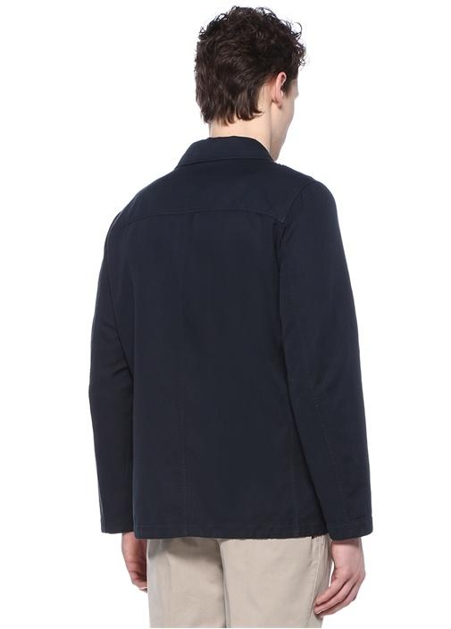 Lacivert Polo Yaka Cepli Dış Gömlek