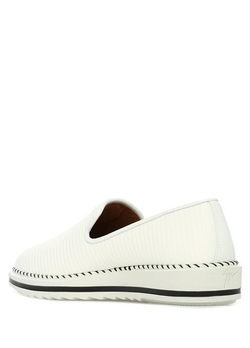 Beyaz Çizgi Dokulu Logolu Erkek Deri Ayakkabı
