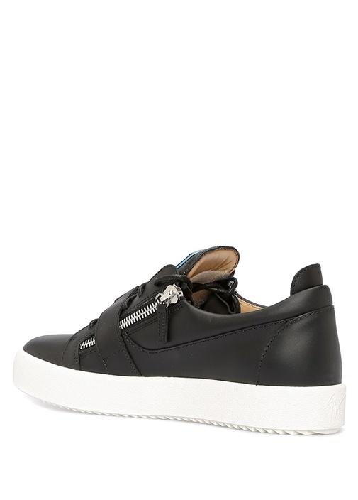 Siyah Klips Detaylı Erkek Deri Sneaker