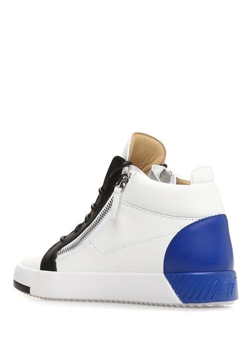 July Beyaz Mavi Erkek Deri Sneaker