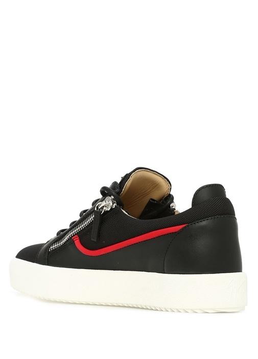 Frankie Siyah Logolu Dokulu Erkek Deri Sneaker