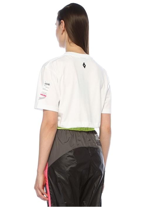 Beyaz Baskılı Önü Büzgü Detaylı Crop T-shirt
