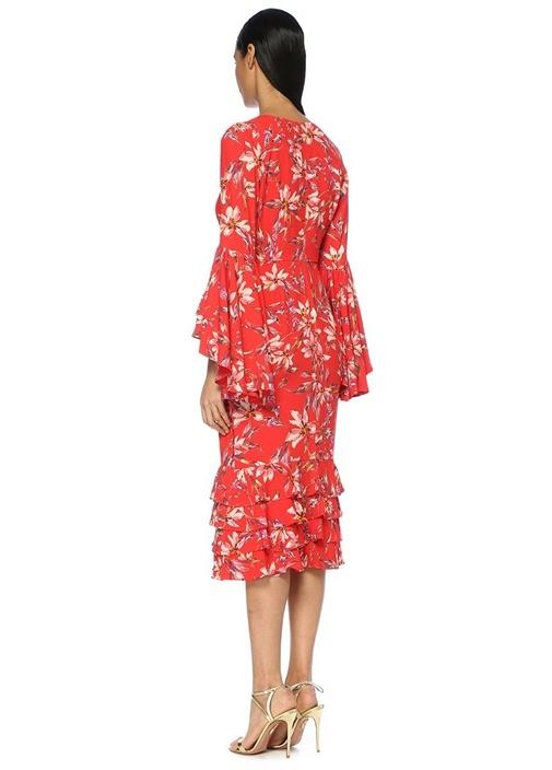 Alexia Kırmızı Çiçekli Volan Detaylı Midi Elbise