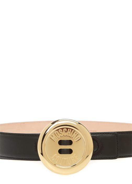 Siyah Gold Düğme Tokalı Kadın Deri Kemer