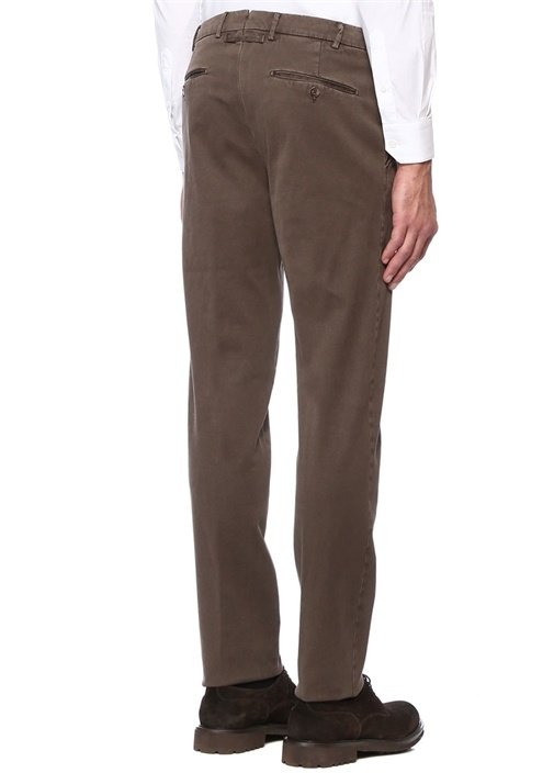 Kahverengi Normal Bel Dar Paça Kanvas Pantolon