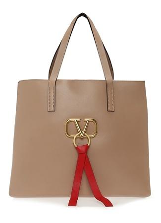 Valentino Garavani Kadın Vring Altın Rengi Logolu Deri Alışveriş Çantası EU