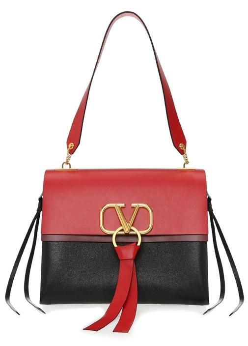Valentıno Garavanı Vring Medium Kırmızı Siyah Kadın El Çantası – 20950.0 TL