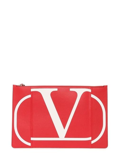 Kırmızı Logo Baskılı Kadın Deri El Portföyü