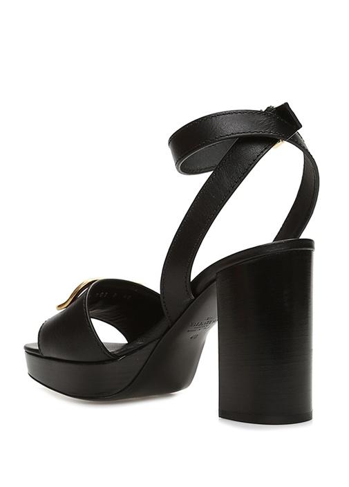 Siyah Gold Logo Tokalı Kadın Deri Sandalet