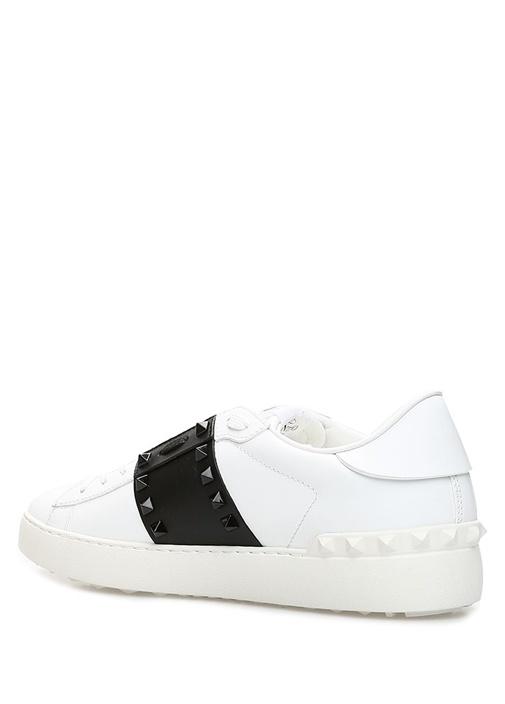 Open Siyah Beyaz Kadın Deri Sneaker