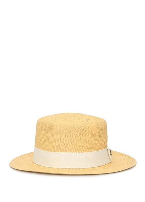 Boater Bej El Yapımı Kadın Hasır Şapka