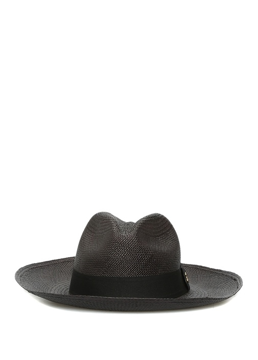 Classic Long Brim Siyah Kadın Hasır Şapka