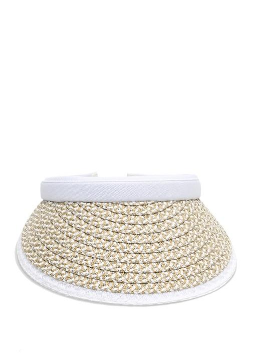 Beyaz Bej Hasır Dokulu Kadın Şapka