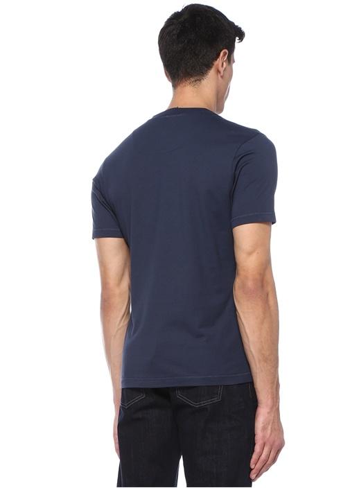 Lacivert Bisiklet Yaka Logolu Basic T-shirt