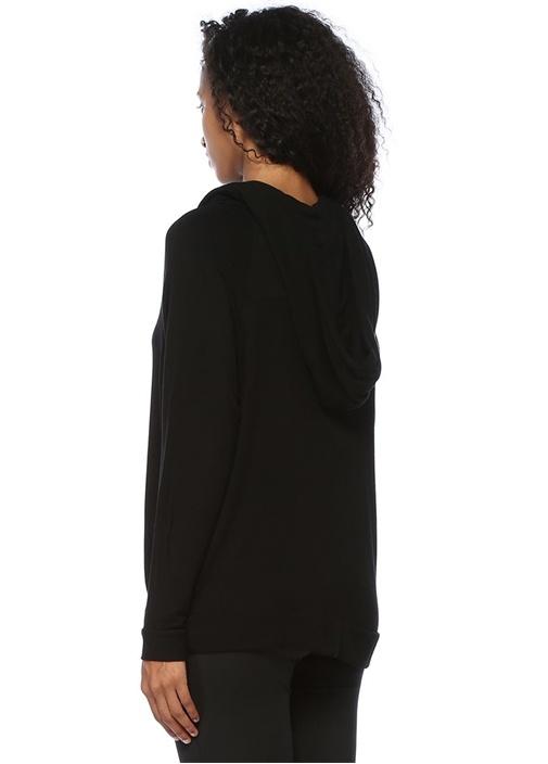 Grateful Siyah Kapüşonlu Nakışlı Sweatshirt