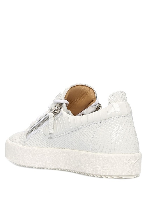 Niki Beyaz Krokodil Desenli Kadın Deri Sneaker